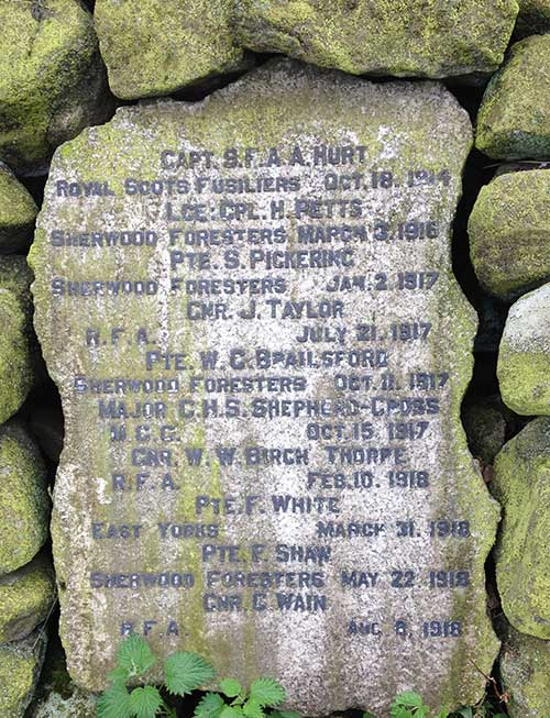 Names on Alderwasley War Memorial