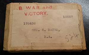 WW1 medal box for Harry Bates