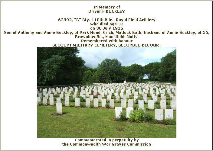 War Graves Certficate for Fred Buckley