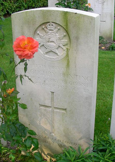WW1 headstone for Willoughby Bunting
