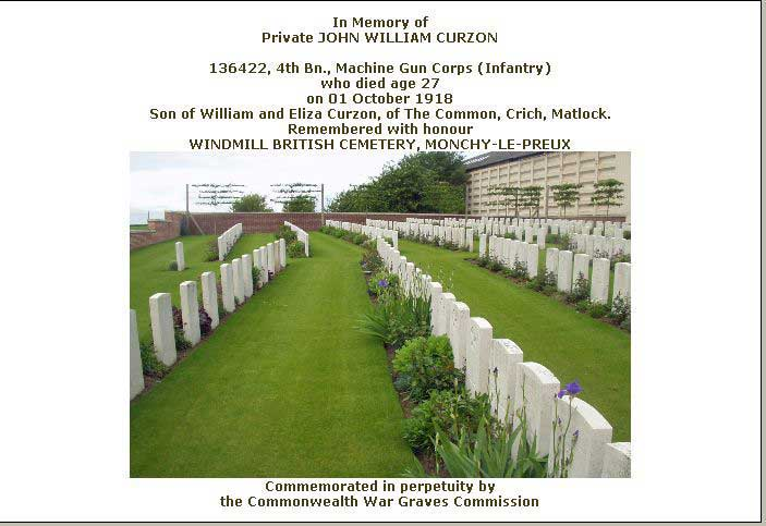 War Graves Certificate for John William Curzon