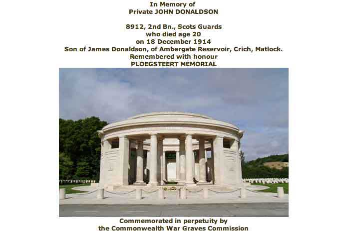 War Graves Certificate for John Donaldson