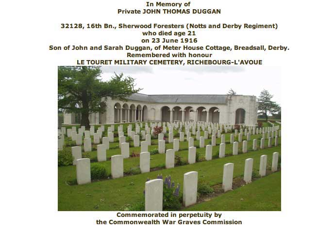 War Graves Certificate for John Duggan