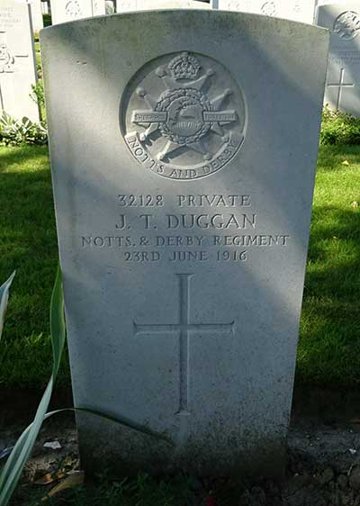 WW1 headstone for John Duggan