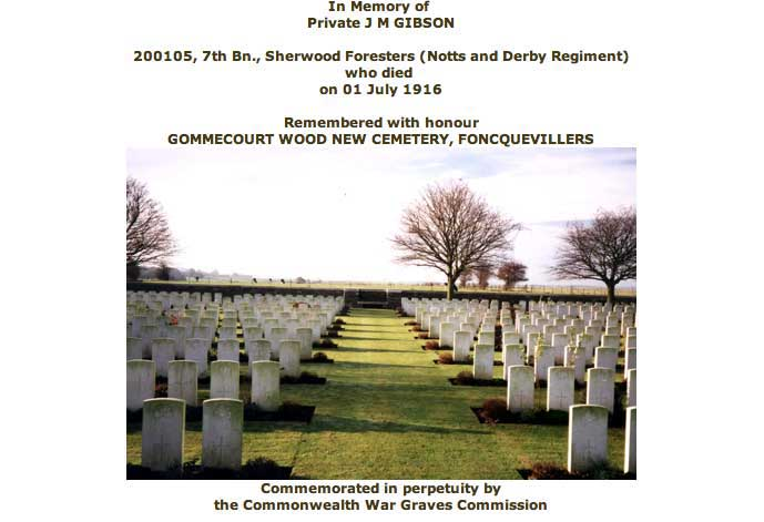 War graves record for John Maurice Gibson