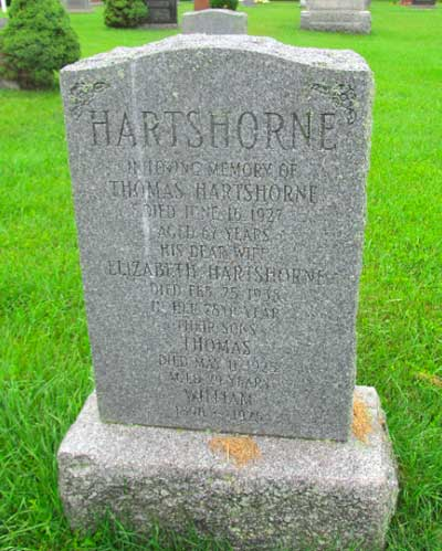 Headstone to the Hartshorne family in Ontario