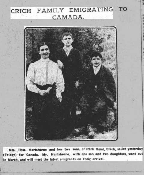 newspaper report of Crich Hartshorne emigrating to Canada 1913
