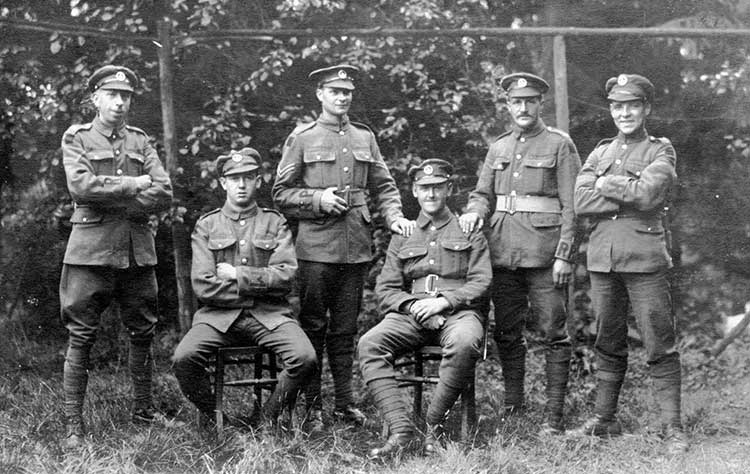 George Haslam and fellow soldiers