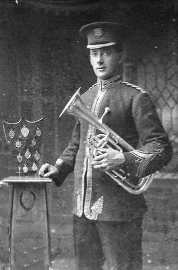 Photo of Sam Hollingsworth in bandsman uniform