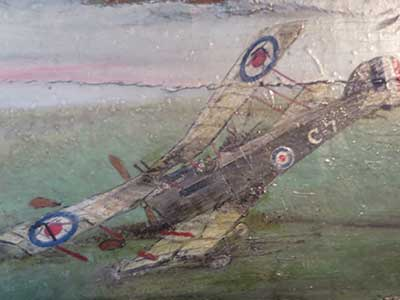 paining of John Jarvis plane crash in WW1