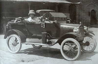 Harry Kay driving army car in 1919