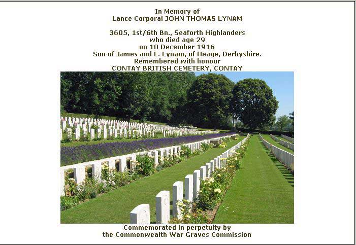 War Graves certificate for Jack Lynam