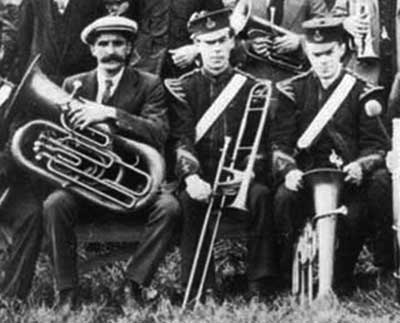 Arthur Mason with Crich Brass band