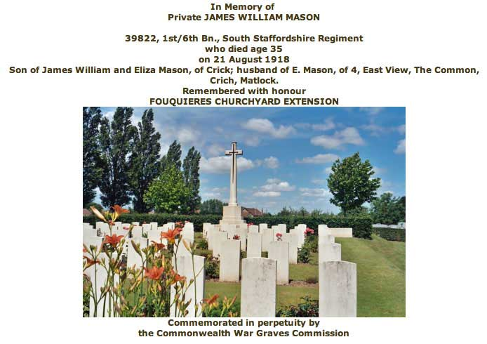 War Grave Certificate for James William Mason