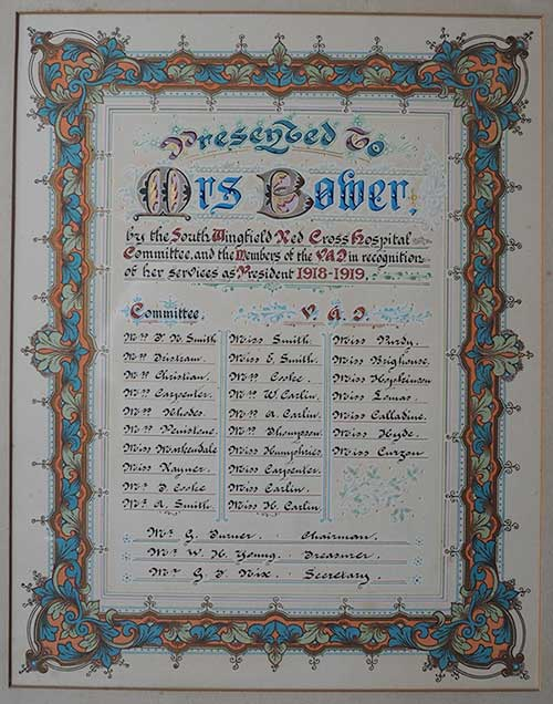 Certificate to Mrs Bower Millhouse in WW1