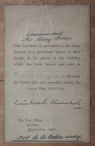Note from Winston Churchill to Mill House VAD hospital in WW1