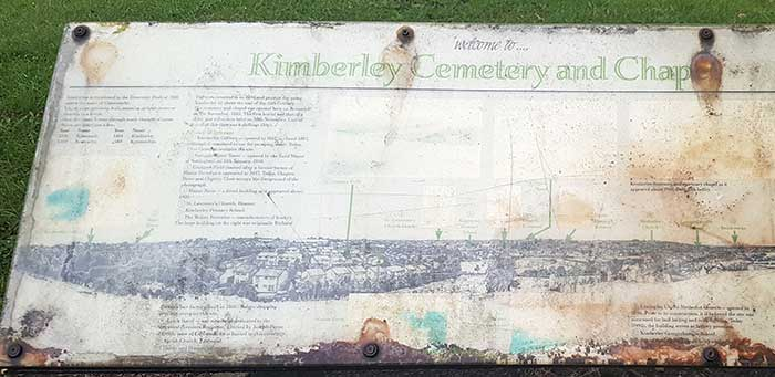 information board at Kimberly Cmetery