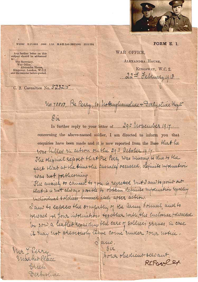Letter from War Office about George Perry