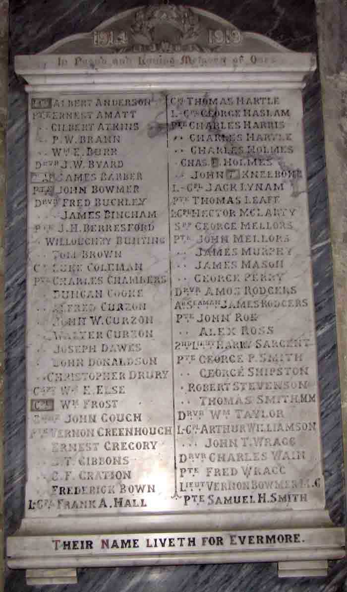 Plaque to the fallen in Crich church