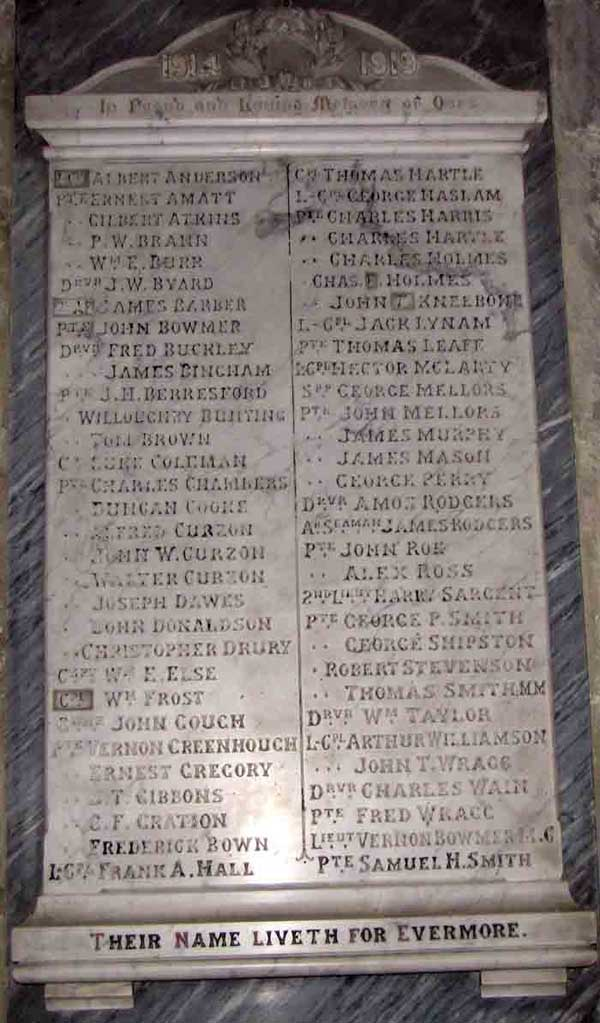WW1 memorial plaque in St Mary's Crich