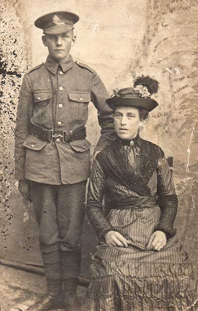 Harry Redfern and mother WW1