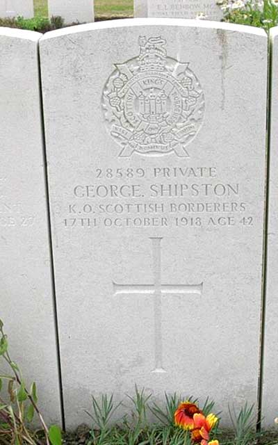 WW1 headstone for George Shipston
