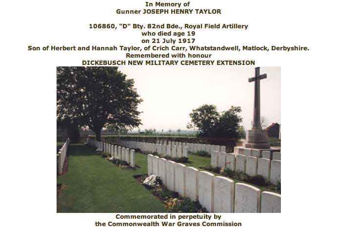 War grave certificate for Joseph Henry Taylor in WW1