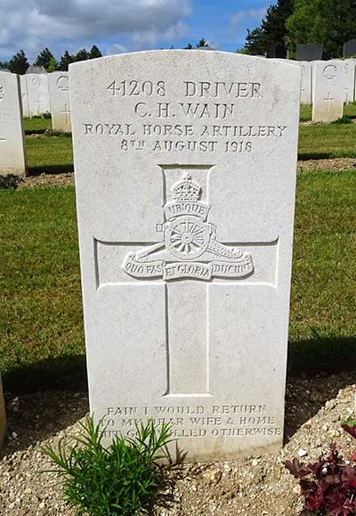 WW1 headstone for Charles Wain